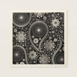 Silver paisley pattern disposable serviette