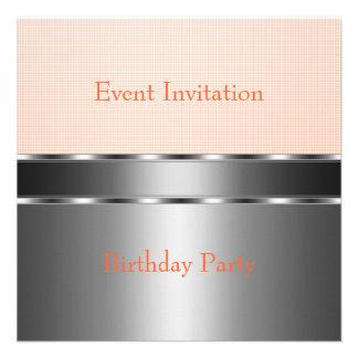 Silver Pale Orange Check Event Party Invitations