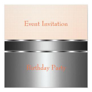 Silver Pale Orange Check Event Party 13 Cm X 13 Cm Square Invitation Card