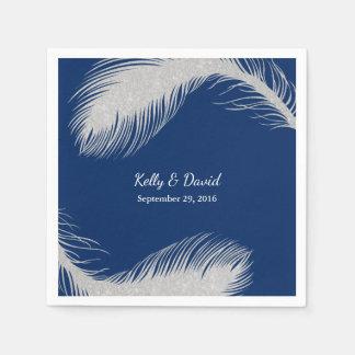 Silver Peacock Feather Modern Navy Blue Wedding Disposable Napkins