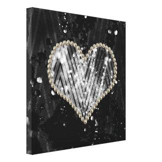 Silver Pearl Heart Canvas Prints