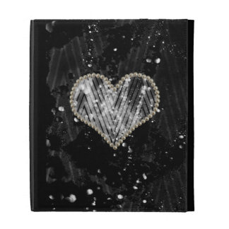 Silver Pearl Heart iPad Folio Covers