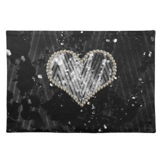 Silver Pearl Heart Placemat