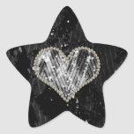 Silver Pearl Heart Star Stickers
