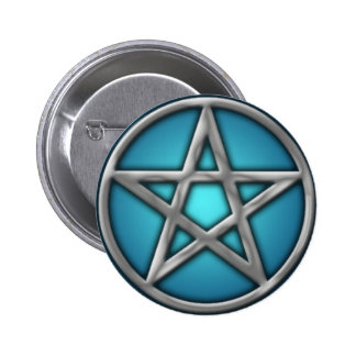 Silver Pentacle on Water 6 Cm Round Badge