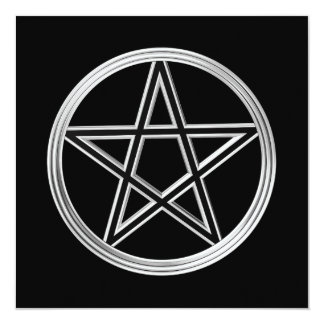 Silver pentagram 13 cm x 13 cm square invitation card