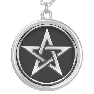 Silver Pentagram 2 Silver Plated Necklace