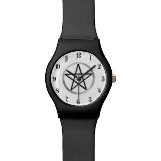 Silver pentagram watch