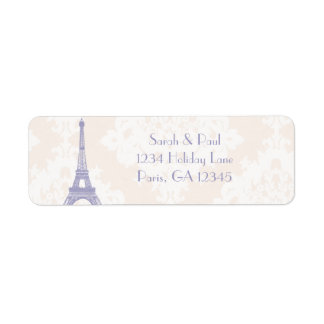Silver Peony Damask Lavender  Vintage Eiffel Tower