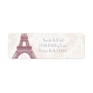 Silver Peony Damask Lavender  Vintage Eiffel Tower
