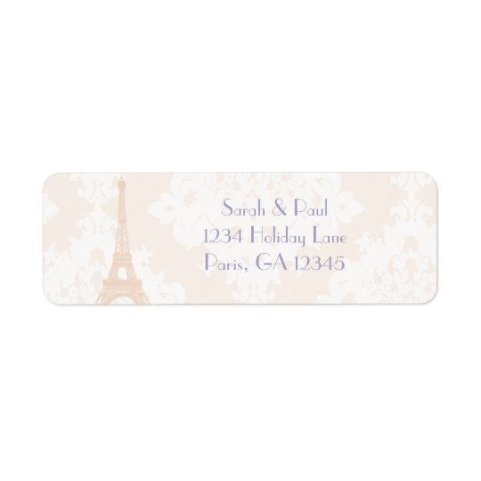 Silver Peony Damask Lavender  Vintage Eiffel Tower Return Address Label