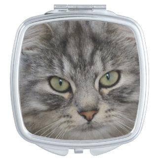 Silver Persian Cat Face Compact Mirror