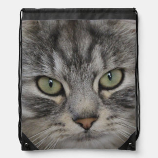 Silver Persian Cat Face Drawstring Bag