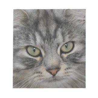 Silver Persian Cat Face Notepad