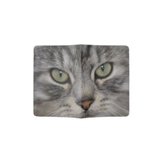 Silver Persian Cat Face Passport Holder