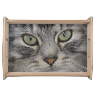 Silver Persian Cat Face Serving Tray