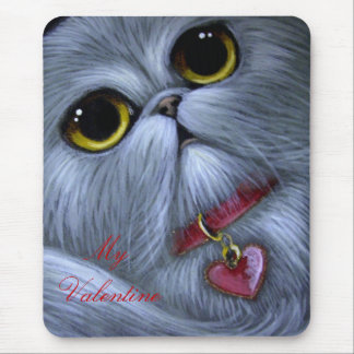 SILVER PERSIAN CAT - MY VALENTINE Mousepad