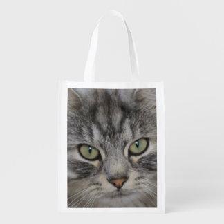 Silver Persian Tabby Cat Face Reusable Bag