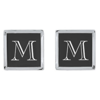 Silver personalized monogram initialed cufflinks silver finish cuff links