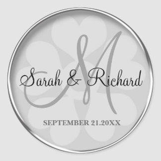 Silver Personalized Monogrammed Wedding Stickers