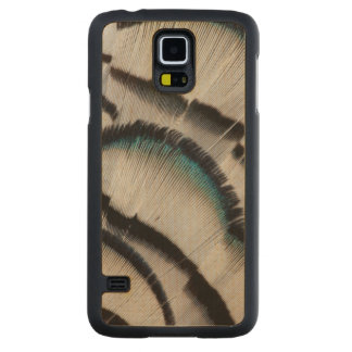 Silver Pheasant Feather Design Carved Maple Galaxy S5 Case