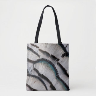 Silver Pheasant Feather Design Tote Bag