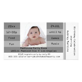 Silver Photo Admission Ticket Birthday Invitation Photo Card