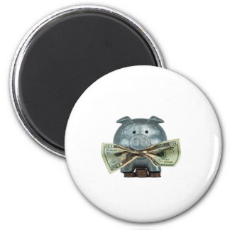 Silver Piggy Bank Eating Money 6 Cm Round Magnet