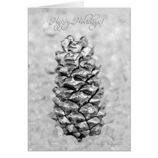 Silver Pine Cone Tree Christmas Card