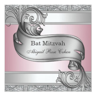 "Silver Pink Bat Mitzvah 5.25"" Square Invitation Card"