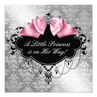 Silver Pink Black Princess Baby Girl Shower 13 Cm X 13 Cm Square Invitation Card