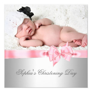 Silver Pink Damask Bow Girl Photo Christening 13 Cm X 13 Cm Square Invitation Card