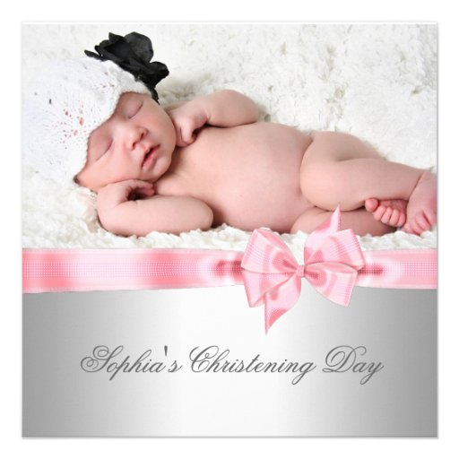 Silver Pink Damask Bow Girl Photo Christening Personalized Invite