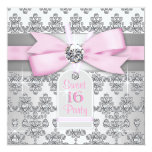 Silver Pink Diamond Pink & Grey Sweet 16 Birthday Custom Announcements