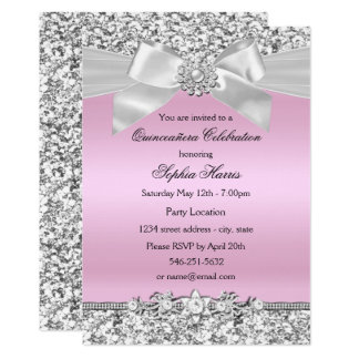 Silver Pink Glitter Jewel Bow Quinceanera Birthday Card