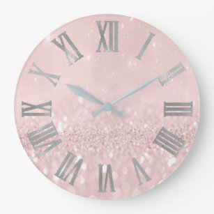 Gold Glitter Wall Clocks Zazzle Uk