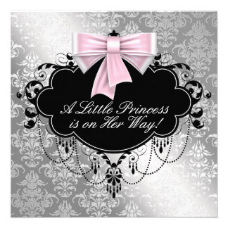 Silver Pink Princess Baby Shower Custom Invites