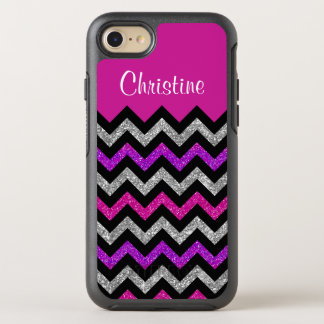 Silver Pink Purple Glitter Black Chevron Stripes OtterBox Symmetry iPhone 8/7 Case