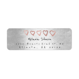 Silver Pink Rose Gold Hearts Silver Metallic