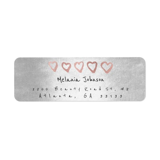 Silver Pink Rose Gold Hearts Silver Metallic Return Address Label