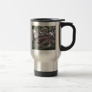 silver pink rose travel mug