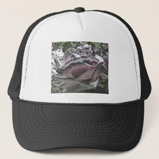 silver pink rose trucker hat