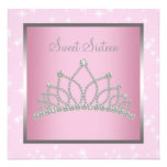 Silver Pink Sparkles Sweet Sixteen Birthday Party