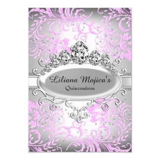 Silver Pink Tiara & Glitter Floral Quinceanera 13 Cm X 18 Cm Invitation Card