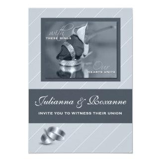 Silver Pinstripe Gay Wedding Invitation