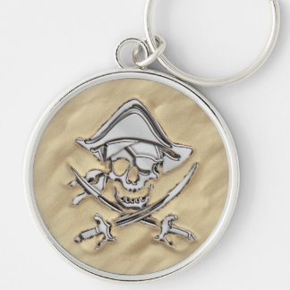 Silver Pirate Skull on the Beach Key Ring