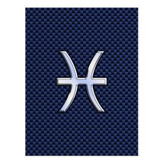 Silver Pisces Zodiac Sign Blue Carbon Fiber Print Postcard
