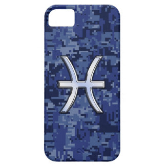Silver Pisces Zodiac Sign Navy Blue Digital Camo iPhone 5 Covers