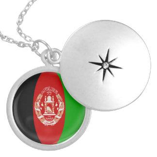 "Silver plate Locket +18"" chain Afghanistan flag"