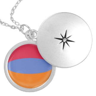 """Silver plate Locket +18"""" chain Armenia flag"""